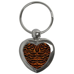 Skin2 Black Marble & Brown Marble Key Chain (heart) by trendistuff