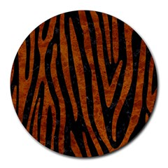 Skin4 Black Marble & Brown Marble (r) Round Mousepad by trendistuff