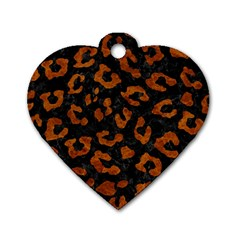 Skin5 Black Marble & Brown Marble (r) Dog Tag Heart (one Side) by trendistuff