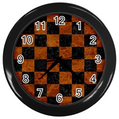 Square1 Black Marble & Brown Marble Wall Clock (black)