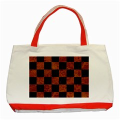 Square1 Black Marble & Brown Marble Classic Tote Bag (red) by trendistuff