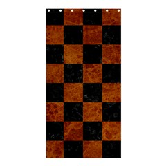 Square1 Black Marble & Brown Marble Shower Curtain 36  X 72  (stall) by trendistuff