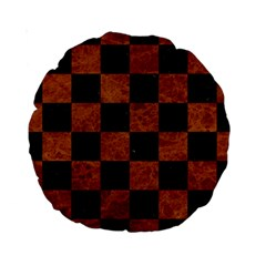 Square1 Black Marble & Brown Marble Standard 15  Premium Round Cushion  by trendistuff
