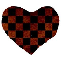 Square1 Black Marble & Brown Marble Large 19  Premium Flano Heart Shape Cushion by trendistuff