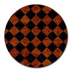 Square2 Black Marble & Brown Marble Round Mousepad by trendistuff
