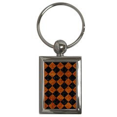 Square2 Black Marble & Brown Marble Key Chain (rectangle) by trendistuff