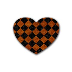 Square2 Black Marble & Brown Marble Rubber Heart Coaster (4 Pack) by trendistuff