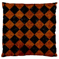 Square2 Black Marble & Brown Marble Large Cushion Case (one Side) by trendistuff