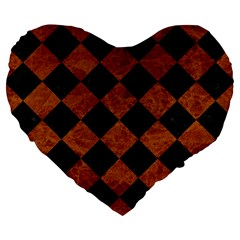 Square2 Black Marble & Brown Marble Large 19  Premium Flano Heart Shape Cushion by trendistuff
