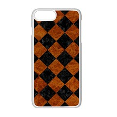 Square2 Black Marble & Brown Marble Apple Iphone 7 Plus White Seamless Case
