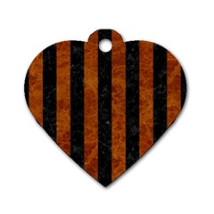 Stripes1 Black Marble & Brown Marble Dog Tag Heart (one Side) by trendistuff