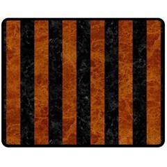Stripes1 Black Marble & Brown Marble Fleece Blanket (medium) by trendistuff