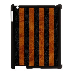 Stripes1 Black Marble & Brown Marble Apple Ipad 3/4 Case (black) by trendistuff