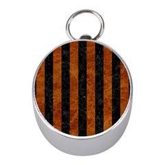 Stripes1 Black Marble & Brown Marble Silver Compass (mini) by trendistuff
