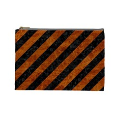 Stripes3 Black Marble & Brown Marble Cosmetic Bag (large) by trendistuff