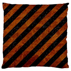 Stripes3 Black Marble & Brown Marble Large Flano Cushion Case (two Sides) by trendistuff