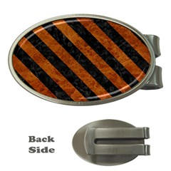 Stripes3 Black Marble & Brown Marble (r) Money Clip (oval) by trendistuff
