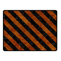 Stripes3 Black Marble & Brown Marble (r) Double Sided Fleece Blanket (small) by trendistuff