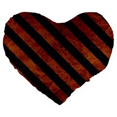 Stripes3 Black Marble & Brown Marble (r) Large 19  Premium Flano Heart Shape Cushion by trendistuff