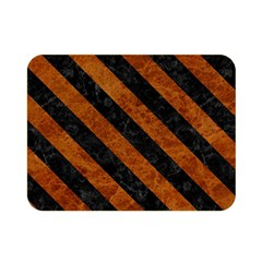 Stripes3 Black Marble & Brown Marble (r) Double Sided Flano Blanket (mini) by trendistuff