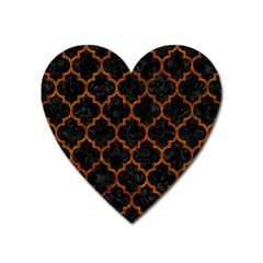 Tile1 Black Marble & Brown Marble Magnet (heart) by trendistuff