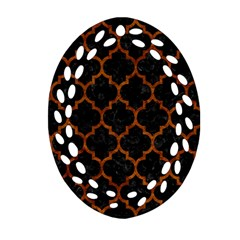 Tile1 Black Marble & Brown Marble Oval Filigree Ornament (two Sides) by trendistuff