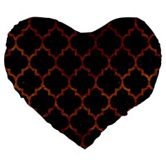 Tile1 Black Marble & Brown Marble Large 19  Premium Flano Heart Shape Cushion by trendistuff