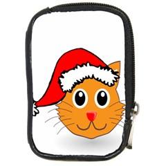 Cat Christmas Cartoon Clip Art Compact Camera Cases by Onesevenart