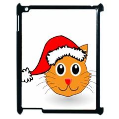 Cat Christmas Cartoon Clip Art Apple Ipad 2 Case (black) by Onesevenart