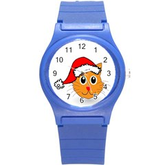 Cat Christmas Cartoon Clip Art Round Plastic Sport Watch (s) by Onesevenart