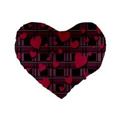 Harts Pattern Standard 16  Premium Heart Shape Cushions by Valentinaart