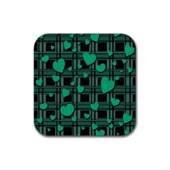 Green Love Rubber Square Coaster (4 Pack)  by Valentinaart