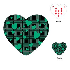 Green Love Playing Cards (heart)  by Valentinaart