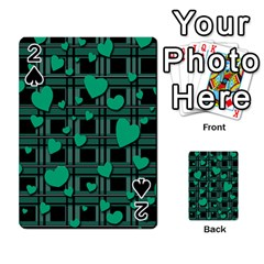 Green Love Playing Cards 54 Designs  by Valentinaart