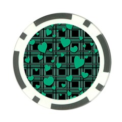 Green Love Poker Chip Card Guards (10 Pack)  by Valentinaart