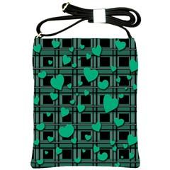 Green Love Shoulder Sling Bags by Valentinaart