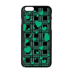 Green Love Apple Iphone 6/6s Black Enamel Case by Valentinaart
