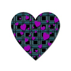 Purple Love Heart Magnet by Valentinaart
