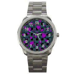 Purple Love Sport Metal Watch by Valentinaart