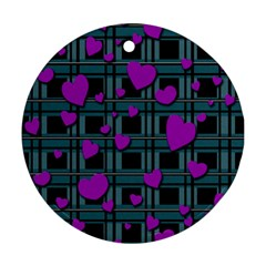 Purple Love Round Ornament (two Sides)  by Valentinaart