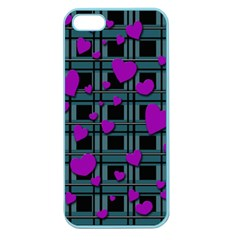 Purple Love Apple Seamless Iphone 5 Case (color) by Valentinaart