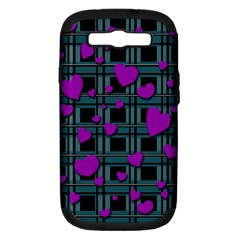 Purple Love Samsung Galaxy S Iii Hardshell Case (pc+silicone) by Valentinaart