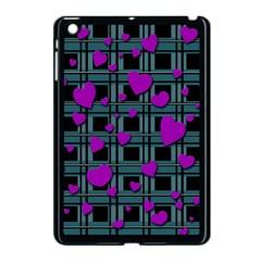 Purple Love Apple Ipad Mini Case (black) by Valentinaart