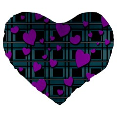 Purple Love Large 19  Premium Heart Shape Cushions by Valentinaart