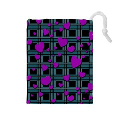Purple Love Drawstring Pouches (large)  by Valentinaart