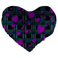 Purple Love Large 19  Premium Flano Heart Shape Cushions by Valentinaart