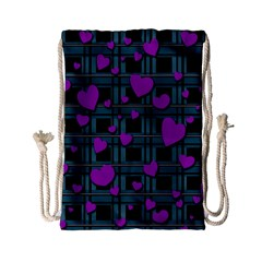 Purple Love Drawstring Bag (small) by Valentinaart