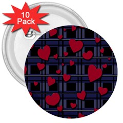 Decorative Love 3  Buttons (10 Pack)  by Valentinaart