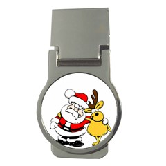Christmas Santa Claus Money Clips (round)  by Onesevenart