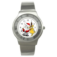 Christmas Santa Claus Stainless Steel Watch by Onesevenart